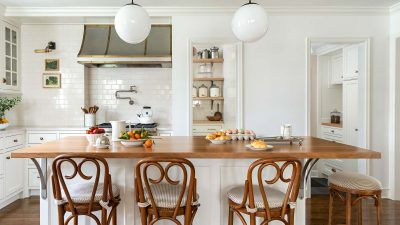 white classic kitchen with wooden island